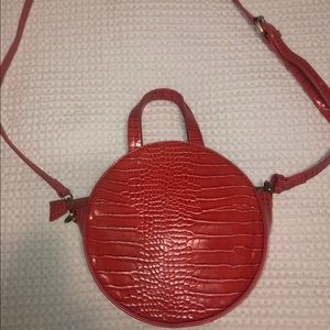 Anthropologie Red Snake Leather Crossbody